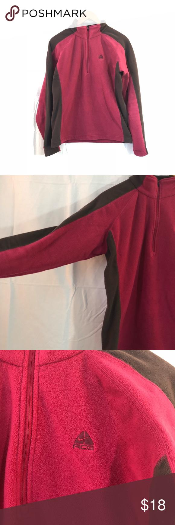 Nike acg zip brown and pink fleece my posh closet