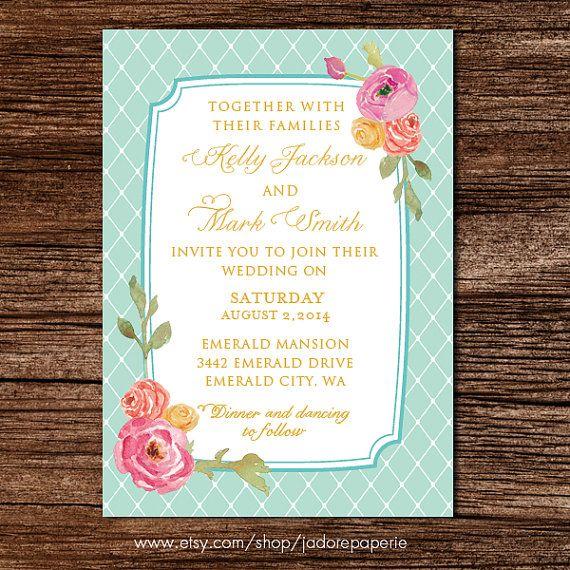 Pastel Wedding Invitation Set Printable Pink by JadorePaperie
