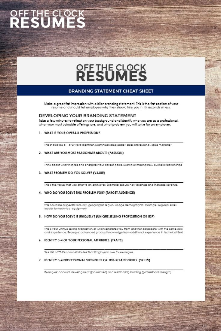 Our Branding Statement Cheat Sheet Is Ideal For Job Seekers In All Career Levels This Resume Summary Statement Resume Profile Marketing Strategy Social Media