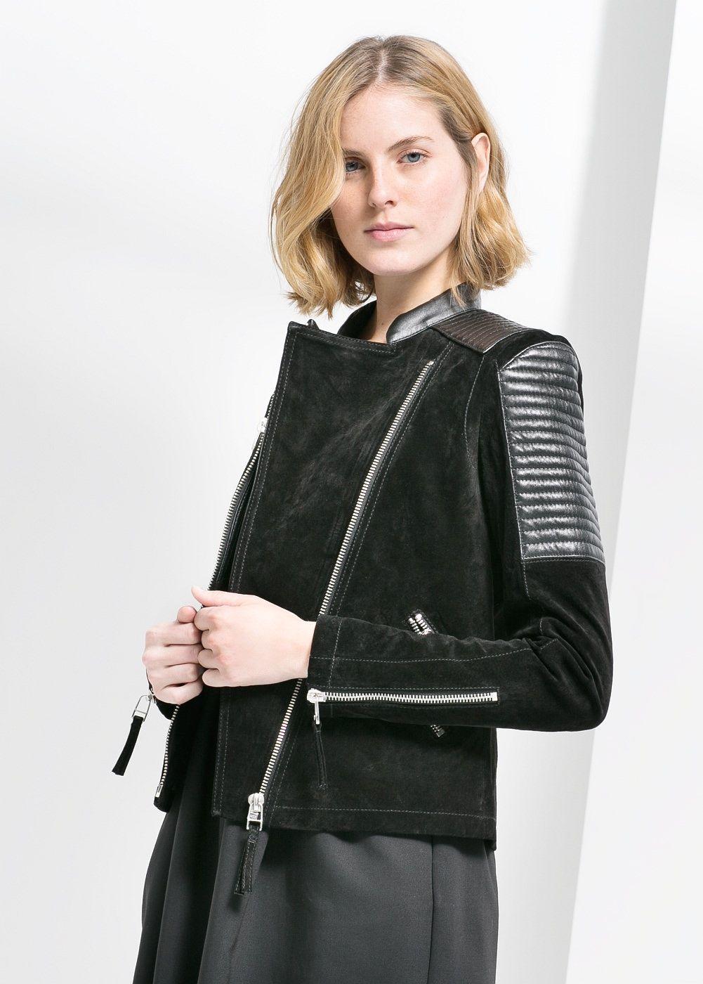 708a93e4fe Black Suede Mixed leather biker Moto jacket Handbag   MANGO  130