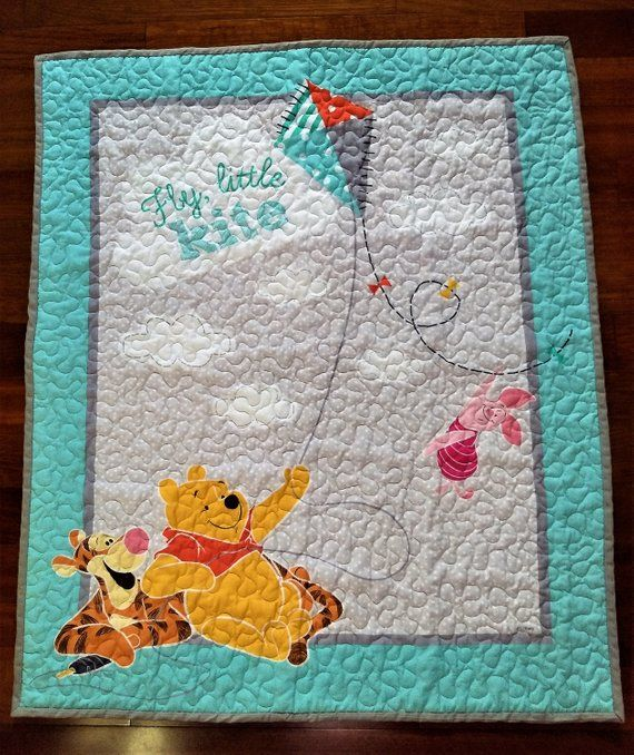 Pooh & Friends Flying Kites Quilted Baby Blanket In 2019