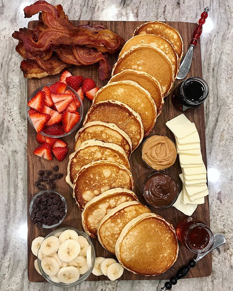 """Maegan Brown on Instagram: """"Pancake Board night is everyone's fave! ��� you can get all the details, including my Classic Buttermilk Pancake and Baked Bacon recipes,…"""""""
