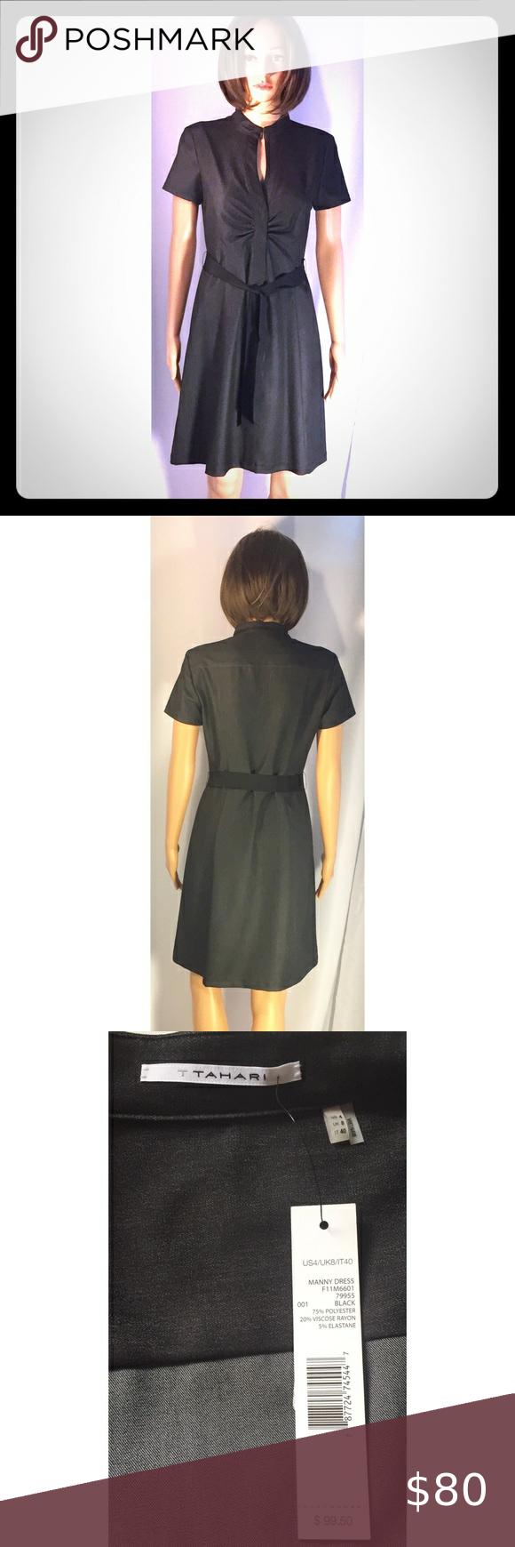 Tahari Black Manny Shirt Dress 4 Black Short Sleeve Dress Dresses Fit And Flare Dress [ 1740 x 580 Pixel ]