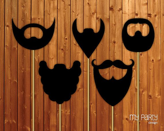 Photo Booth Props On a Stick - PRINTABLE Beards collection diy