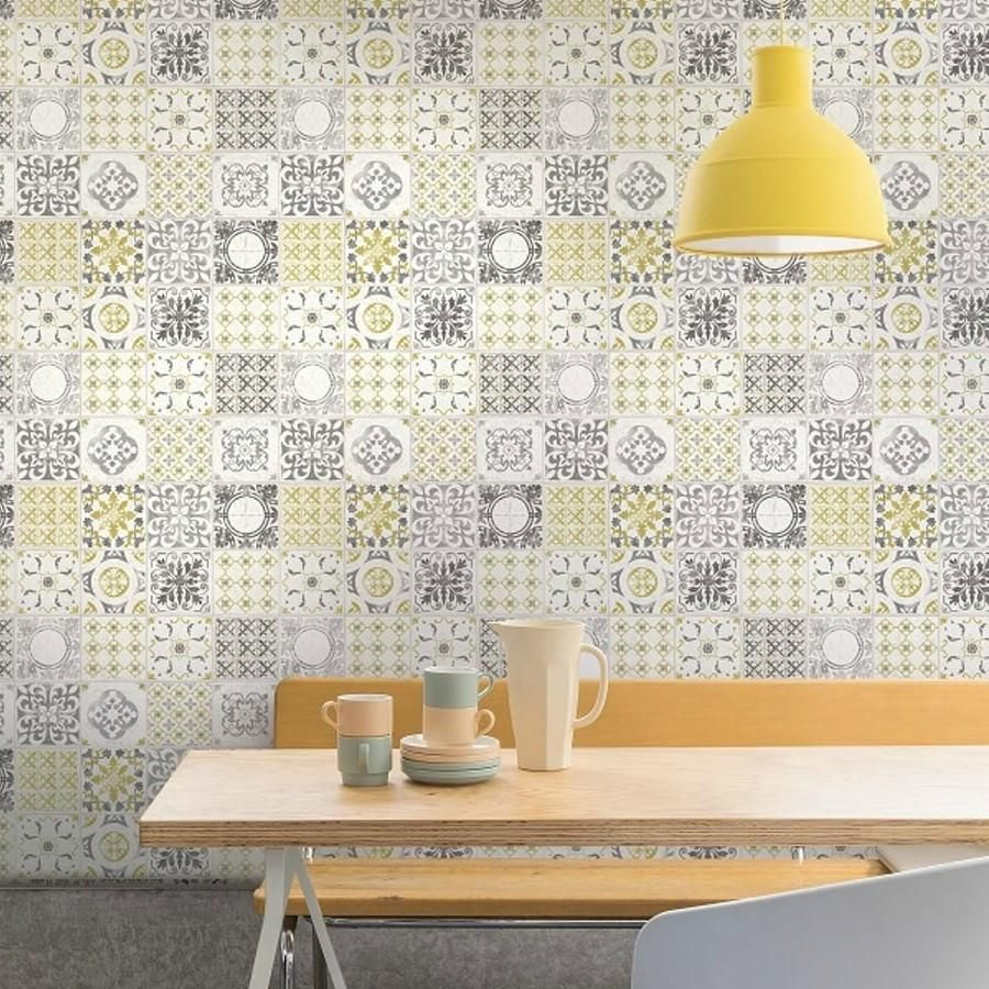 GranDeco Wallpaper Porto Tile Yellow A22901