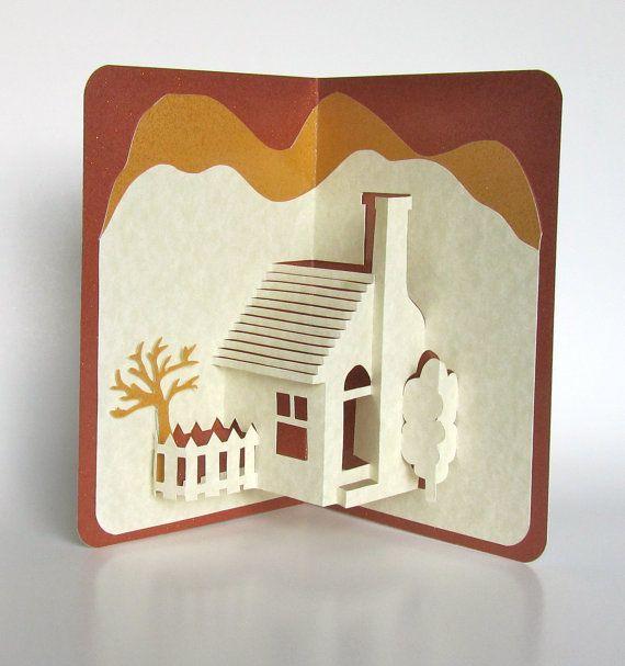 Photo of Home Pop-Up 3D-Karte Home Décor Origamic Architecture Handgefertigt in Elfenbein- und Erdtönen mit schimmerndem Braun und Senfsand OOAK