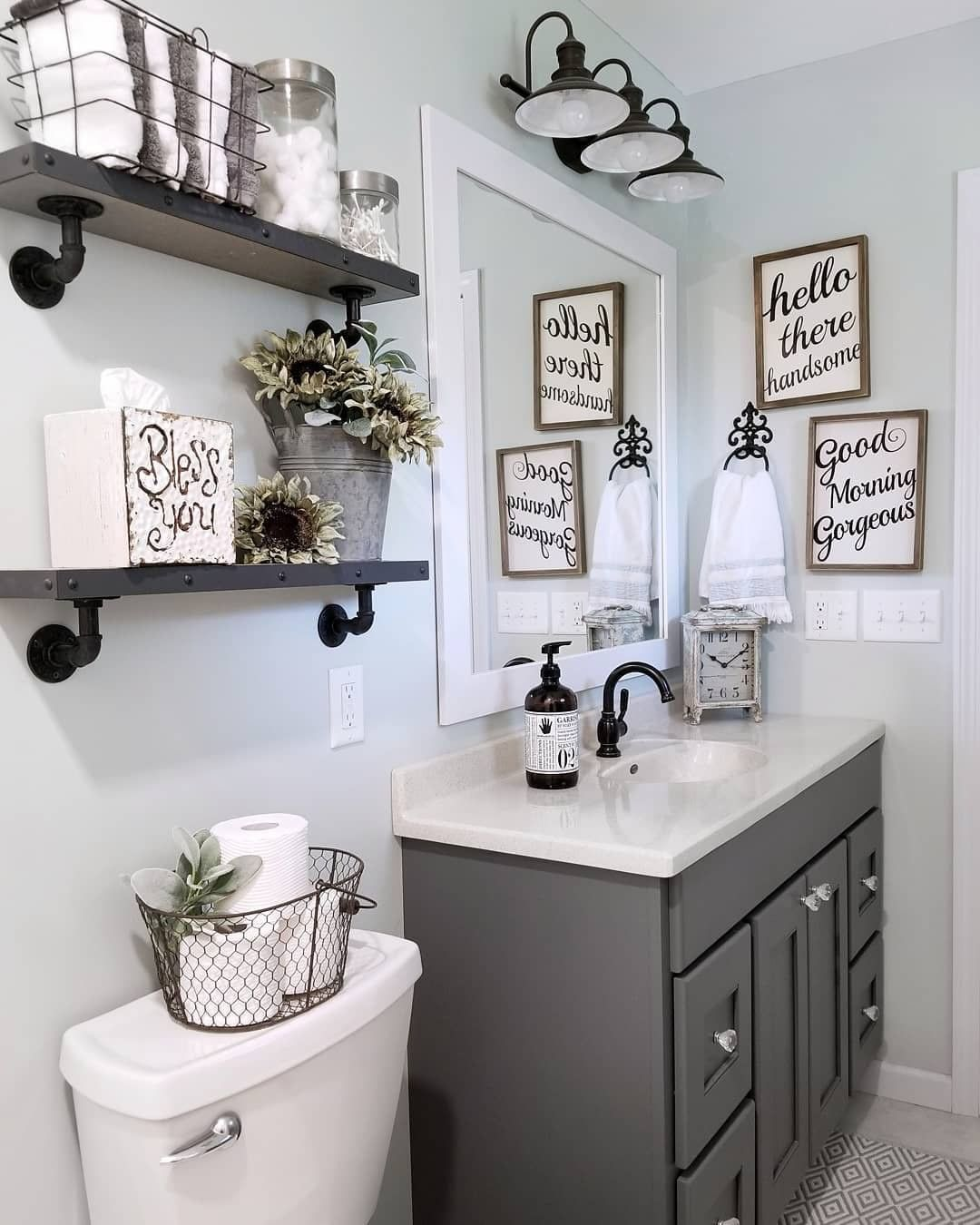 Now This Is Bathroom Decor Done Right The Neutral Color Scheme Flows So Well In Blessed Ranch S Bathroom Small Bathroom Decor Restroom Decor Bathroom Decor
