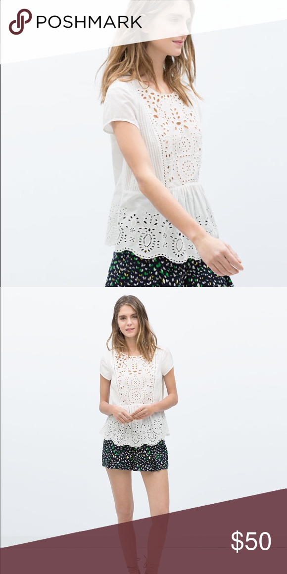 a3e4800ad56db NWT Zara White Eyelet Pintuck Peplum Blouse Top White Cotton Blouse with  embroidered eyelet and pintuck details. Loose fitting and airy. Zara Tops  Blouses