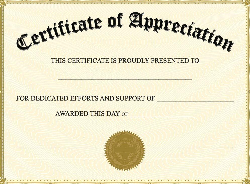Church Certificate Of Appreciation Template Certification Of