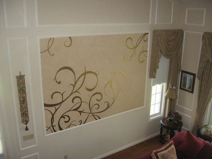 Faux Finishes Can Create Wonderful Drama In A Room.this Was A Unique Rag  Roll Effect With Gold Swirl Paint Added To This Wall Space Where The Client  Wanted ...