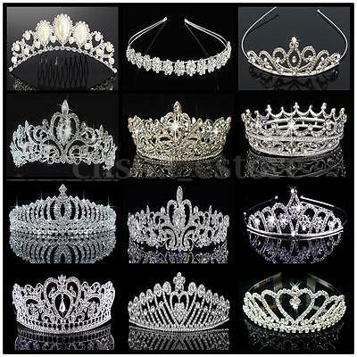 (eBay Ad) US Bridal Wedding Prom Crystal Flower Tiara Crown Pearl Rhinestone Hair Headband #crowntiara