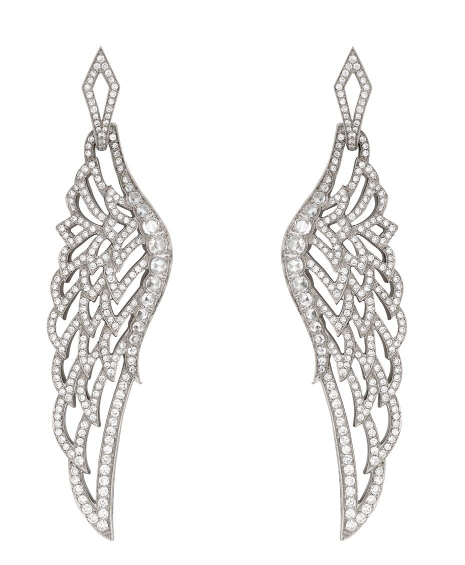 If I wear a ring on each ear, might I fly? #Garrard Wings 10th Anniversary collection white gold and diamond earrings. #wings #earrings #diamonds