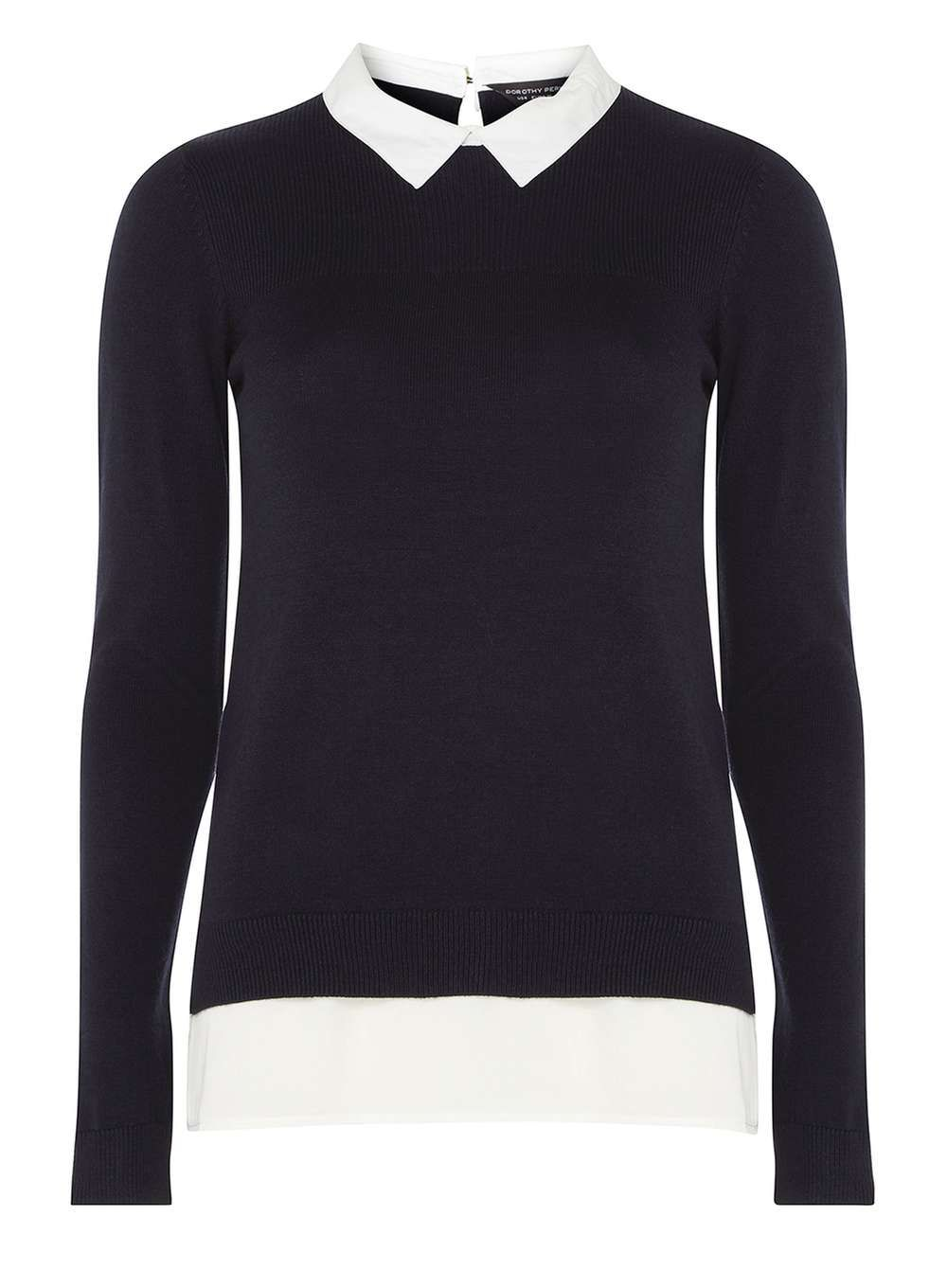 Womens Navy Knitted 2-In-1 Jumper- Blue | Products