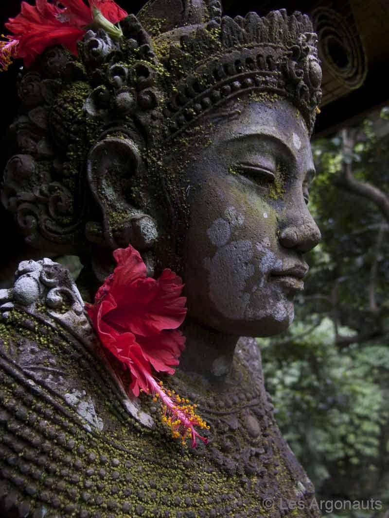 zen Buddha statue with flower in ears. Bali. (photo by Les Argonauts) (via kelledia.tumblr 49659244050)
