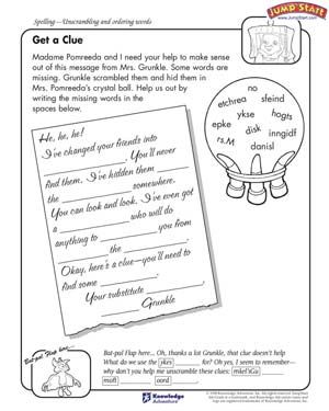Get a Clue Free English Worksheet for 4th Grade