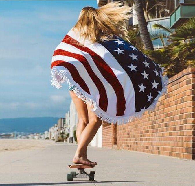 Patriotic Beach Blanket With Fringe American Flag Scarf Beach Blanket Beach Towel Blanket