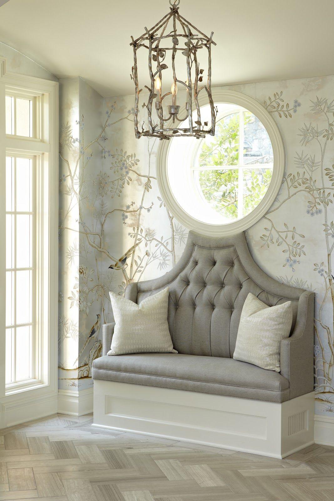 tufted bench, wallpaper, herringbone floor, light fixture...so pretty!