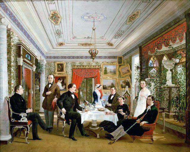 """А. Я. Волосков - """"За чайным столом"""" (1851 год)"""