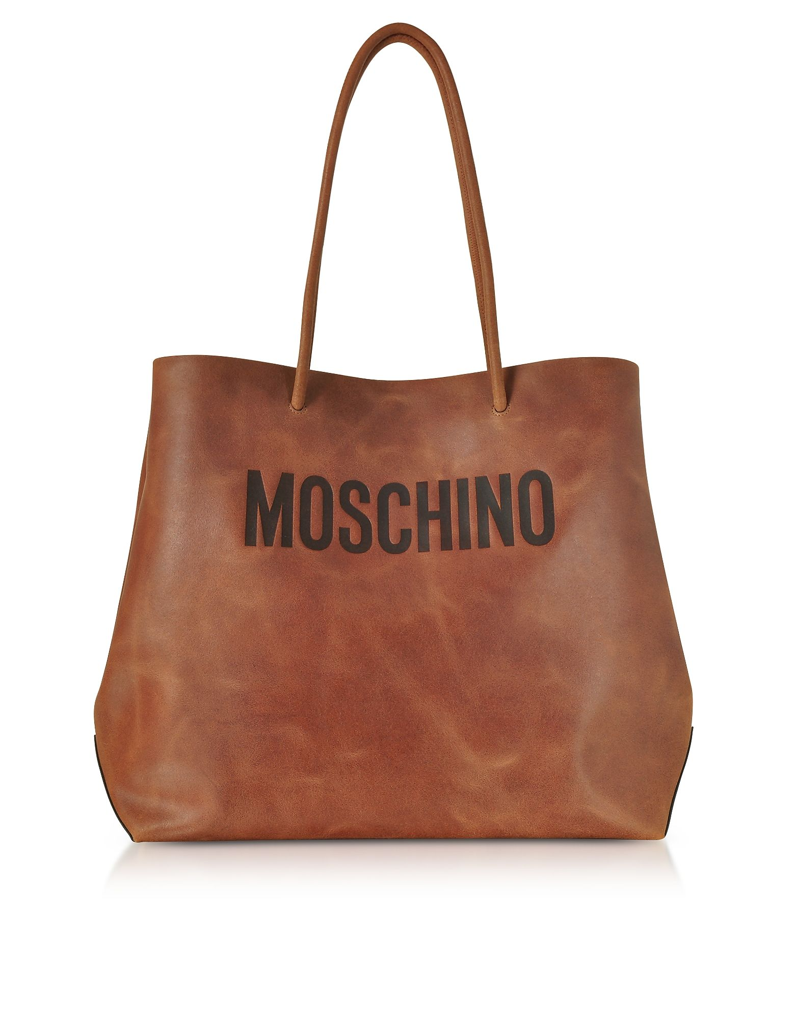 a4df91517aab MOSCHINO BROWN LEATHER TOTE BAG W SIGNATURE LOGO.  moschino  bags  leather   hand bags  tote