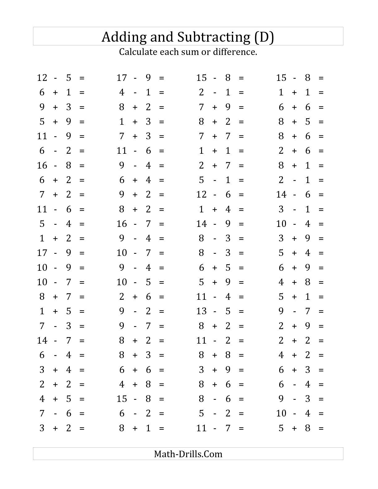 The 100 Horizontal Addition Subtraction Questions Facts 1 To 9 D Math Worksheet From The