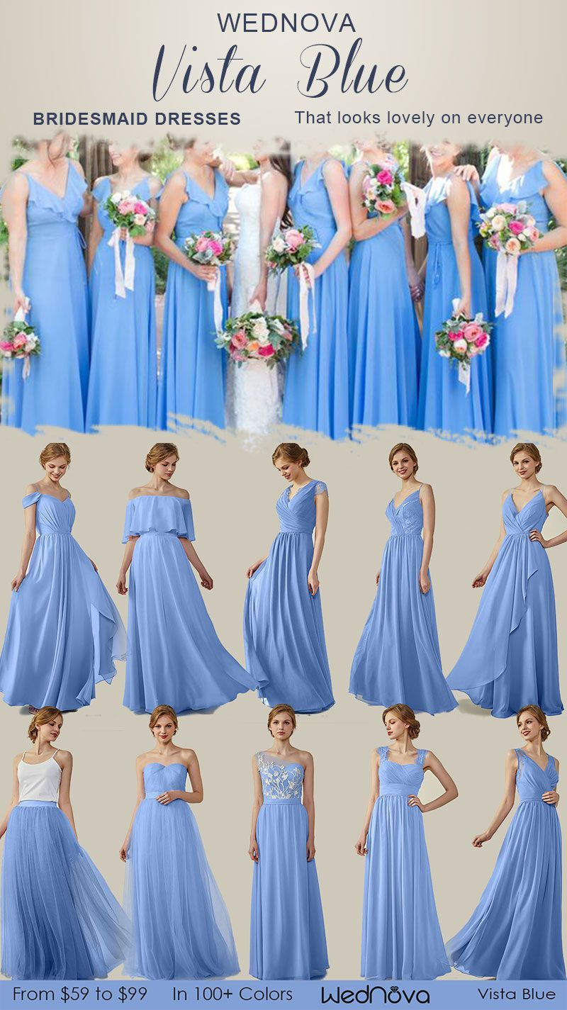 elegant different style bridesmaid vista blue on a budget v