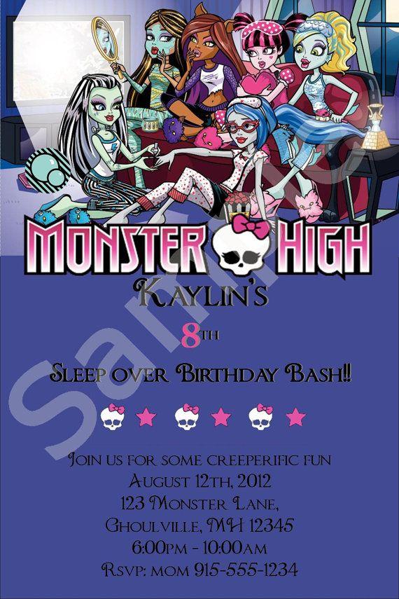 Custom Monster High Sleepover Invitation by SimplybyDrea on Etsy ...