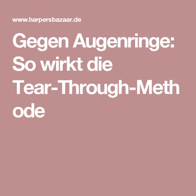 Gegen Augenringe So Wirkt Die Tear Through Methode