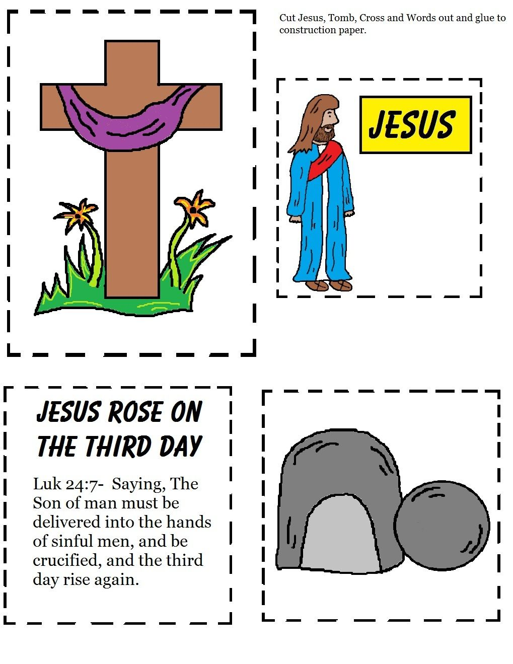 Easy easter toddler cutout sheet jesus rose on the third day easy easter toddler cutout sheet jesus rose on the third day negle Image collections