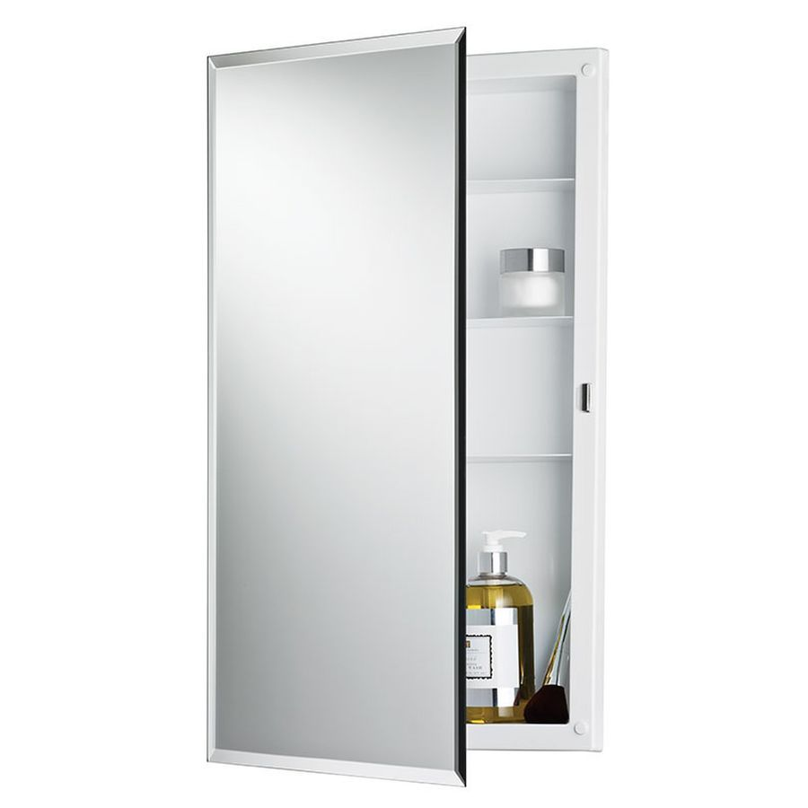 Jensen Builder 16 In X 26 In Recessed Frameless Mirrored Rectangle Medicine Cabinet Lowes Com Medicine Cabinet Mirror Recessed Medicine Cabinet Beveled Edge Mirror