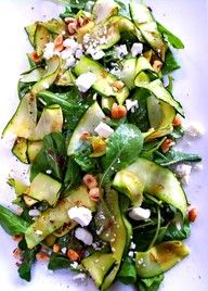 Zucchini lovers! Grilled zucchini ribbon & spinach salad
