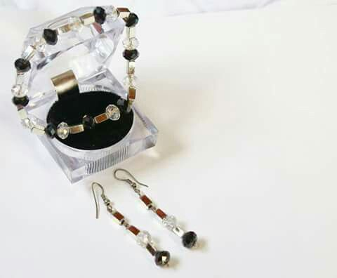 B/w crystal matching bracelet and earrings