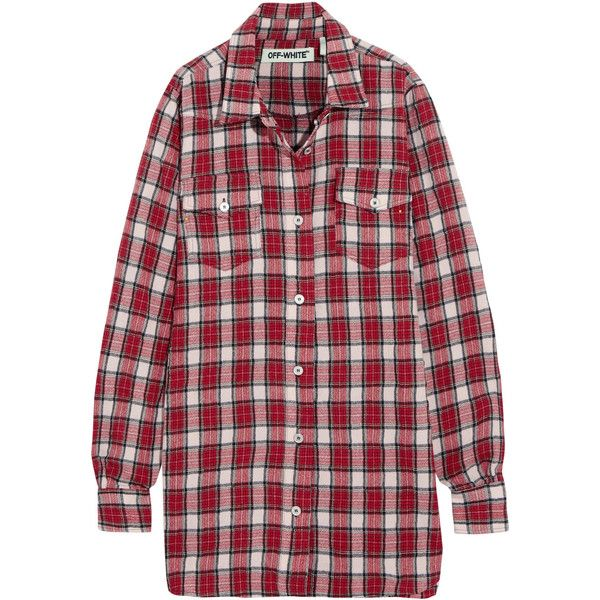 a9d051fe080c Off-White Oversized checked wool and cotton-blend flannel shirt ( 390) ❤  liked on Polyvore featuring tops