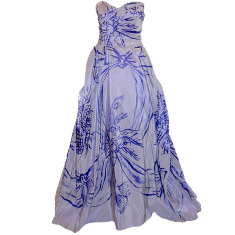 Adrian Original \'Peace Dove\' Silk Gown, Theodora Getty