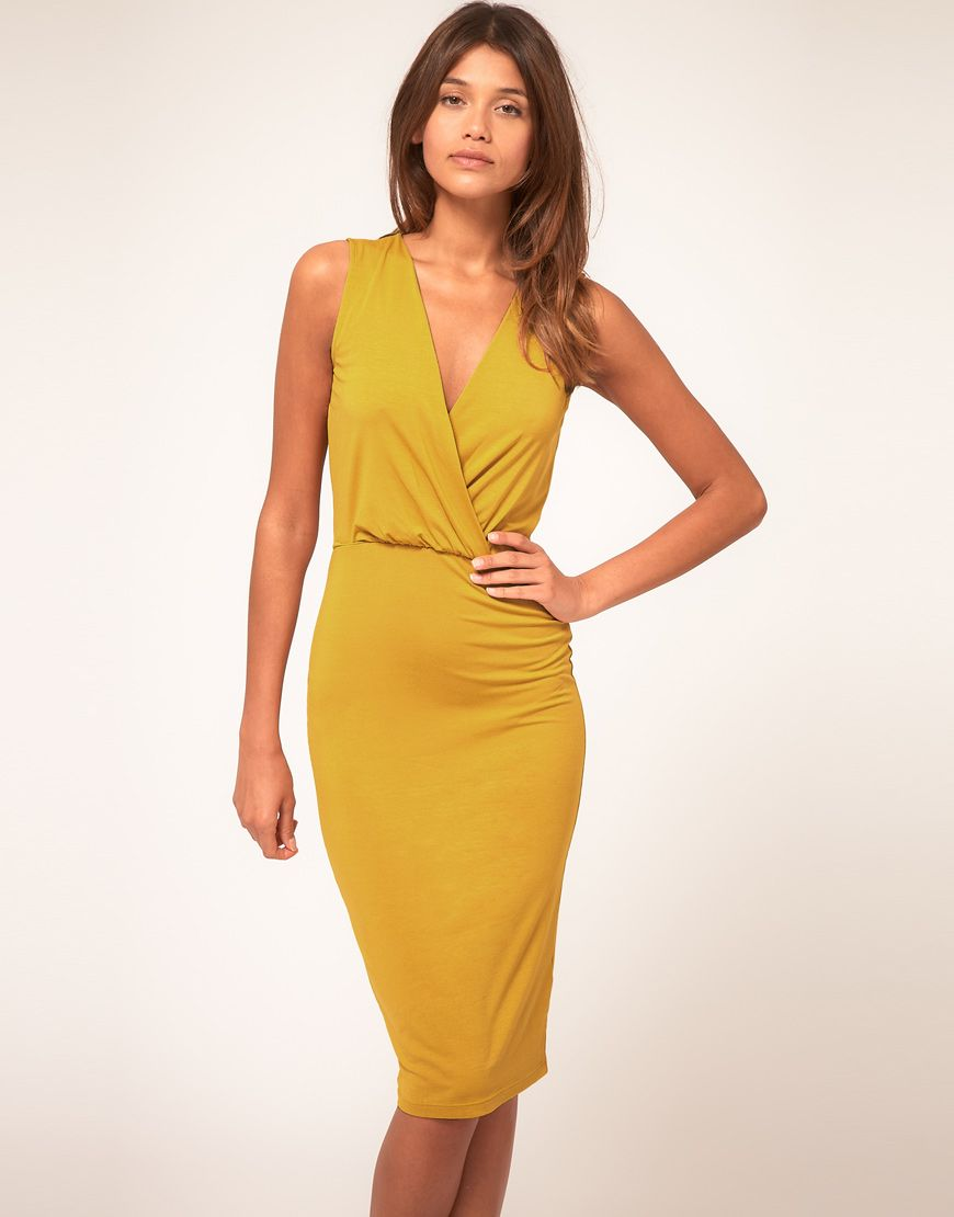 Asos Collection Pencil Dress With Wrap Front In Yellow Mustard Lyst