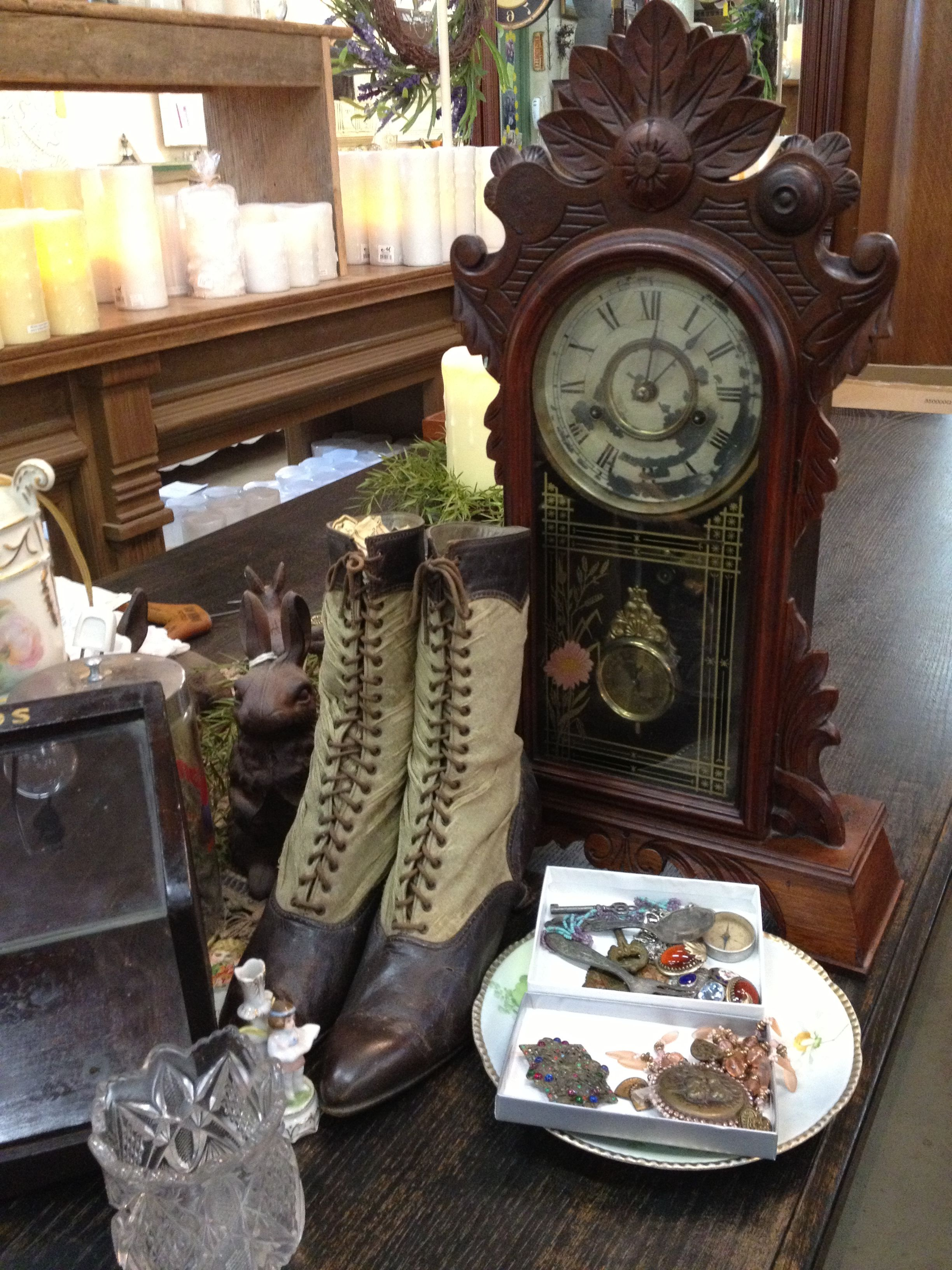 Beautiful old stuff at the store old things mantle