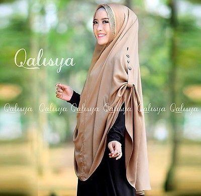 Beige Ziya Instant Hijab Slip On Khimar One Piece Scarf Islam Abaya