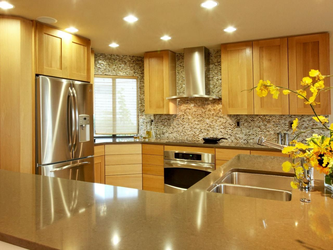 this traditional kitchen with inset wood cabinets and stainless