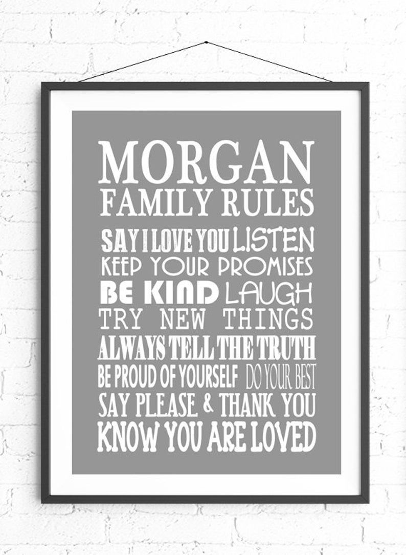 Family Rules Wall Art Personalized Family Gift Custom Sign Etsy In 2020 Family Rules Wall Art Family Rules Sign Personalized Family Gifts
