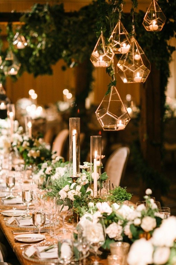 20 brilliant wedding table decoration ideas green weddings industrial theme white and green wedding table decoration ideas junglespirit Images
