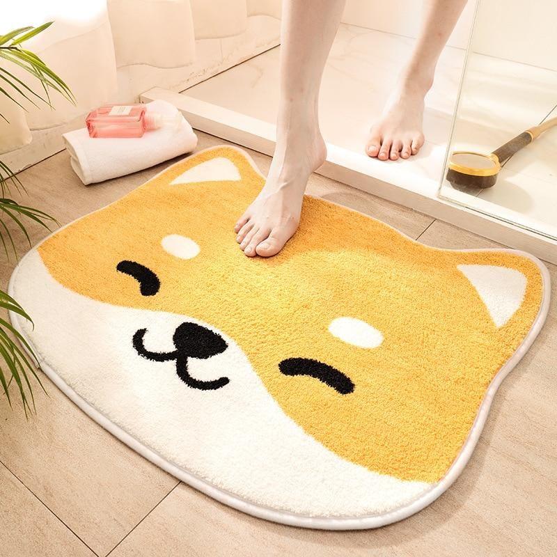Photo of Shiba Inu and cat print bath mat