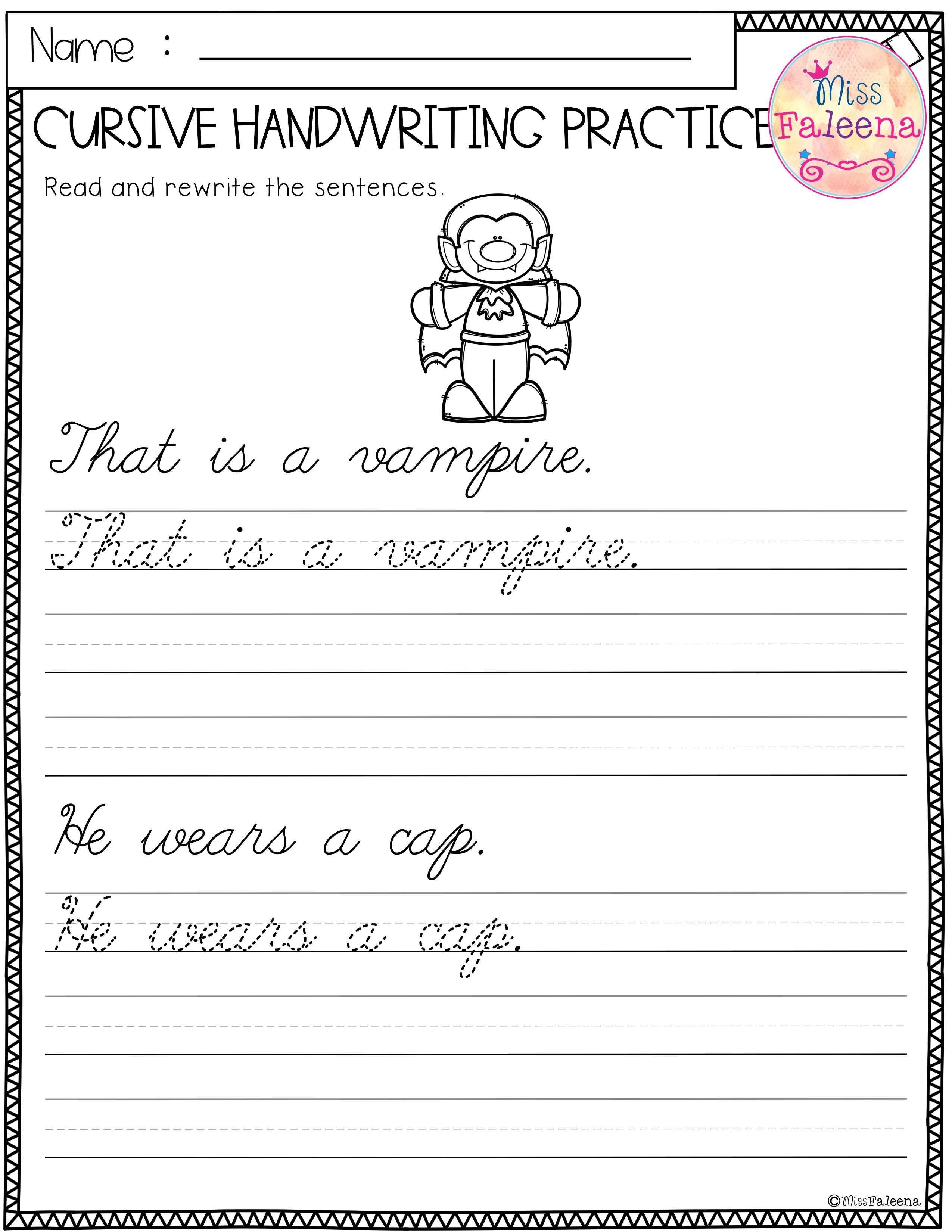 Halloween Cursive Handwriting Practice