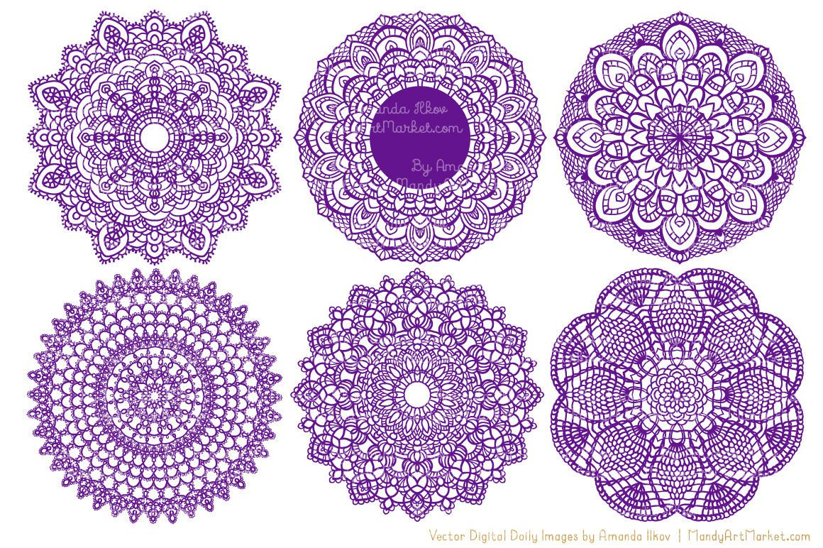 Violet Vector Lace Doilies By Amanda Ilkov TheHungryJPEG