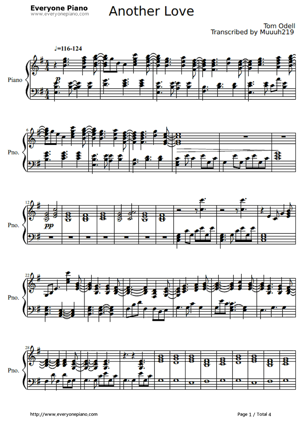 another love tom odell piano sheet music free
