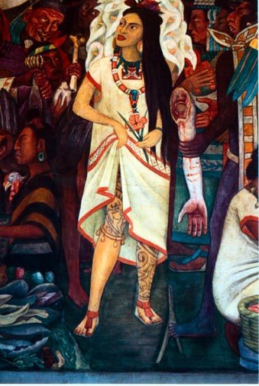La malinche detail of mural by rivera she was cortes for Diego rivera la conquista mural
