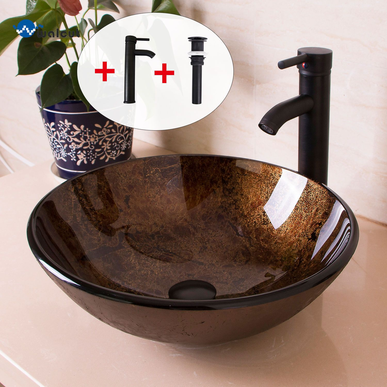 Details About Bathroom Round Glass Vessel Sink W Oil Rubbed Bronze