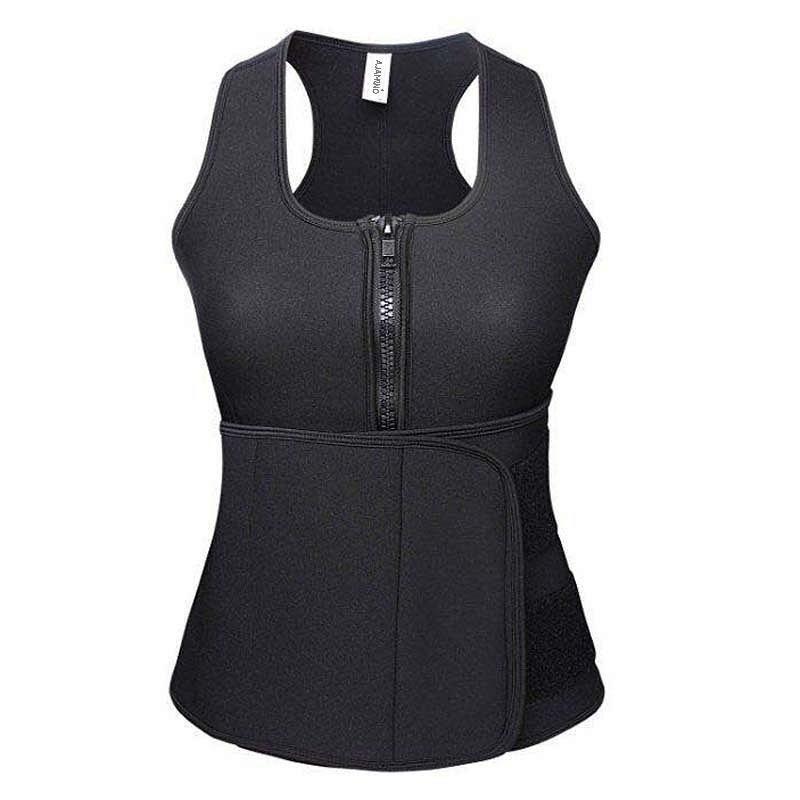 Neoprene Waist Trainer Corset Trimmer Sauna Suit Tank Top Vest with Adjustable Waist Trimmer Belt
