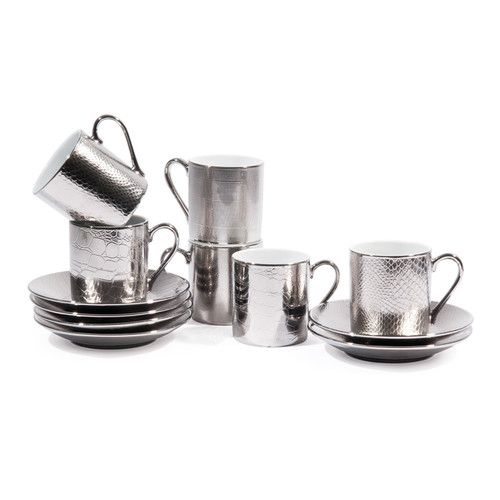 coffret 6 tasses caf avec soucoupes en porcelaine argent es sauvage d co kitchen. Black Bedroom Furniture Sets. Home Design Ideas