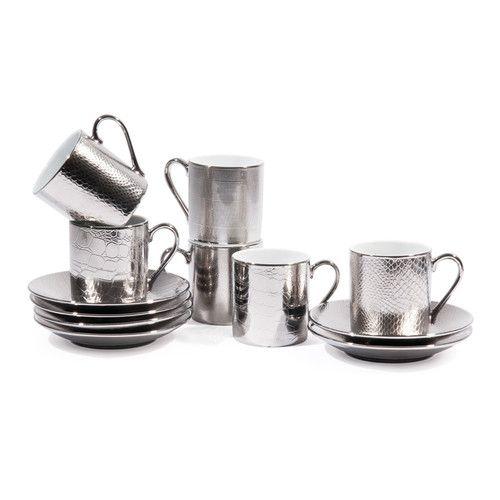 coffret 6 tasses à café avec soucoupes en porcelaine argentées