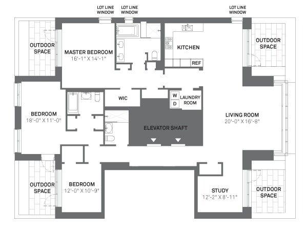 3 Bed 3 Bath Nyc Condo Manhattan Apartment Outdoor Bedroom Floor Plans
