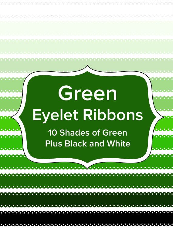 Green Eyelet Ribbons 15 Inches Long  10 Shades of by ModernMommsie